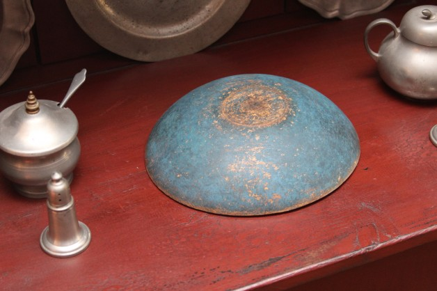 8 inch antique bowl with new blue paint