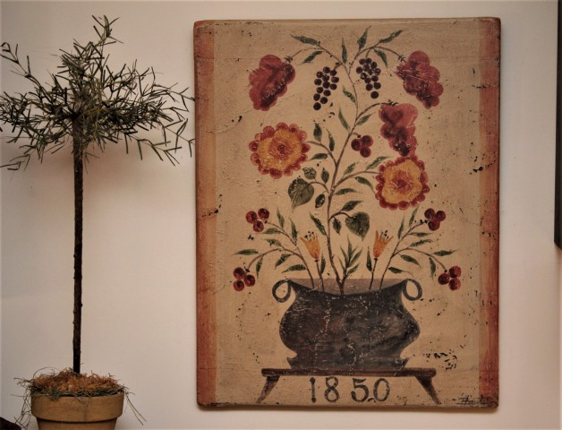 1850 antique flowers in black pot