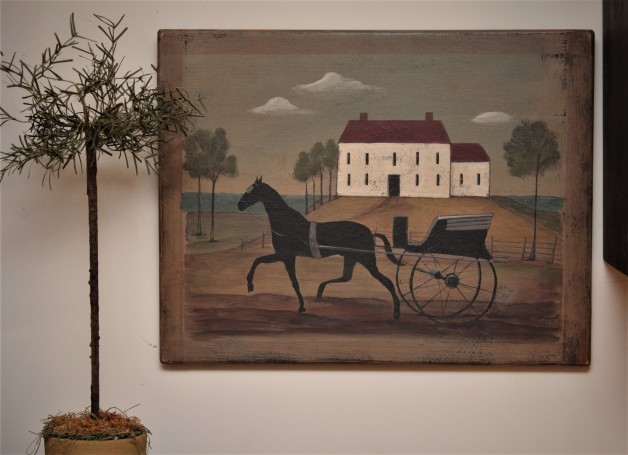 Horse and buggy scene sign