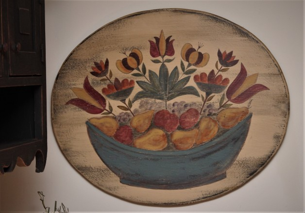 Oval folk art style fruit bowl sign