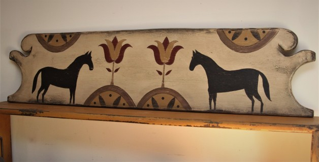 Headboard with Tulip and Horse Design