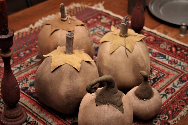 Aged white pumpkins