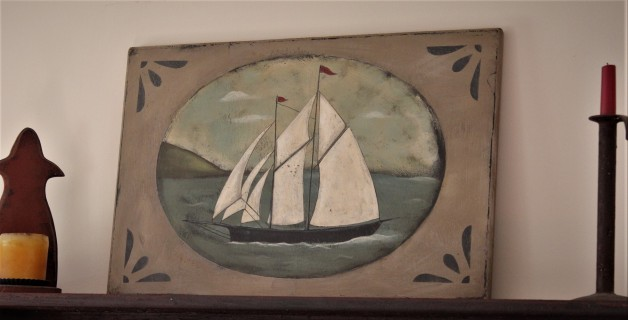 Sailboat with stenciled corners