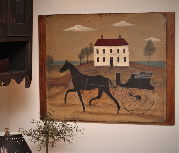 Horse and Buggy Scene on old breadboard