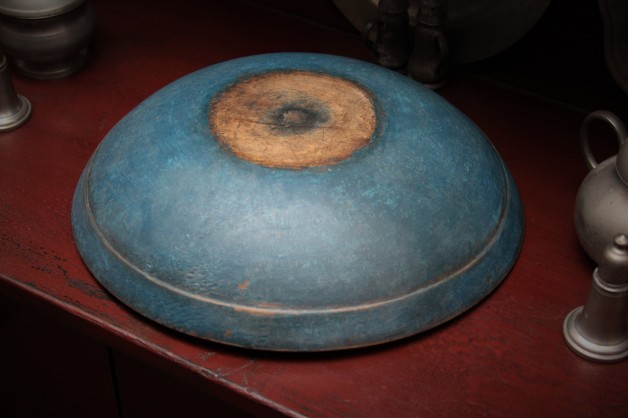 Antique bowl with aged blue paint by Pam Gill