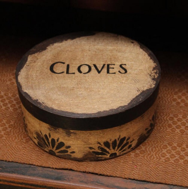 Aged white cloves box