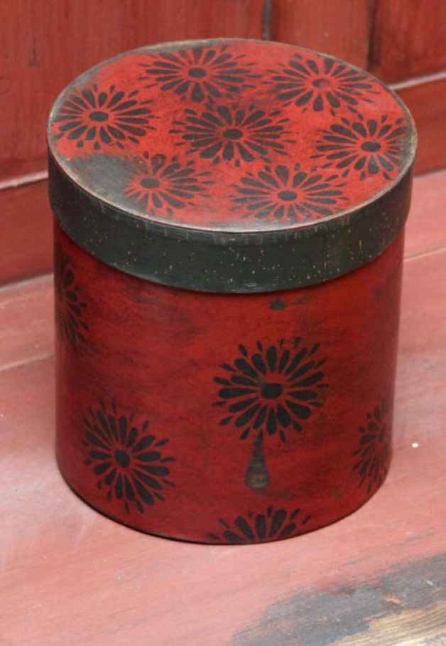 Tall redware box with flowers