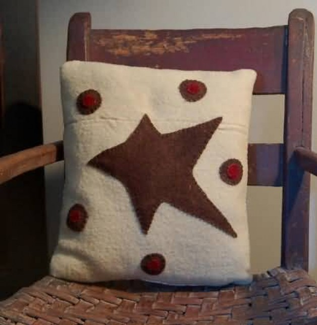 Wool star and penny pillow