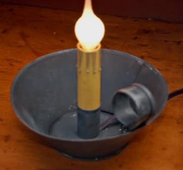 Aged tin electric candle holder