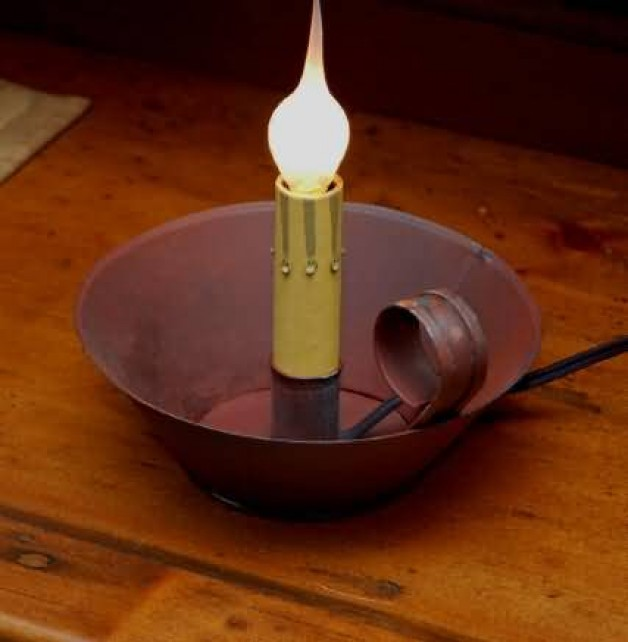 Red Aged tin electric candle holder