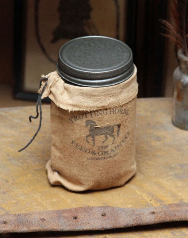 Trotting Horse feed sack candle