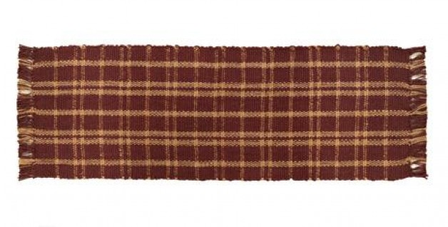 Burgundy Jute Plaid Runner 13×36