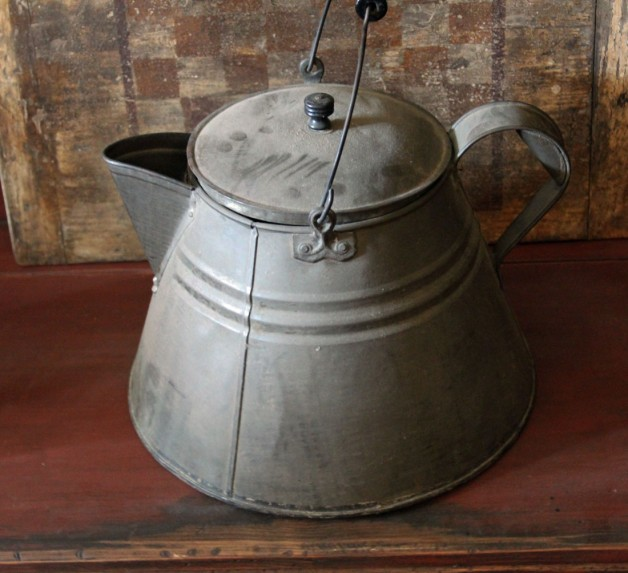 Antique large tin coffee pot