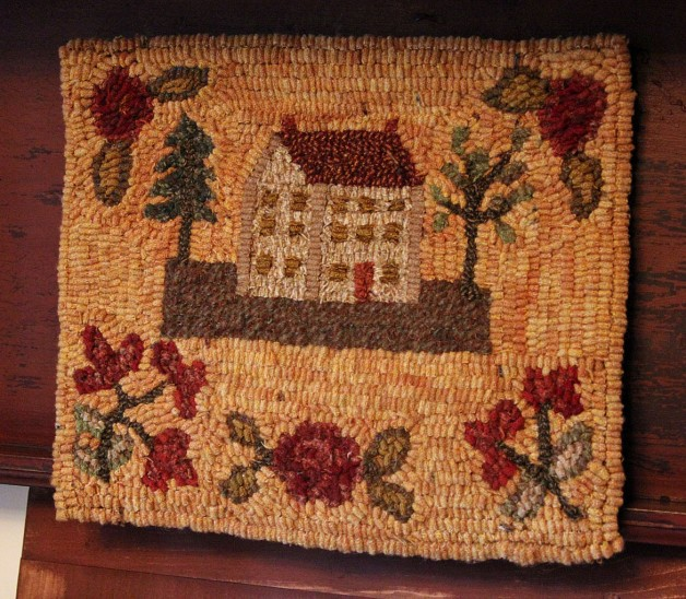 House and Flowers hooked rug