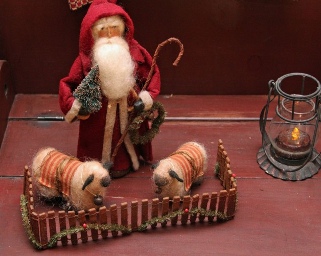 Santa with sheep and fence