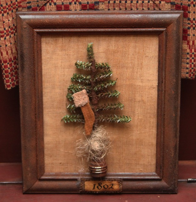 Framed 1802 Christmas Tree w/stocking