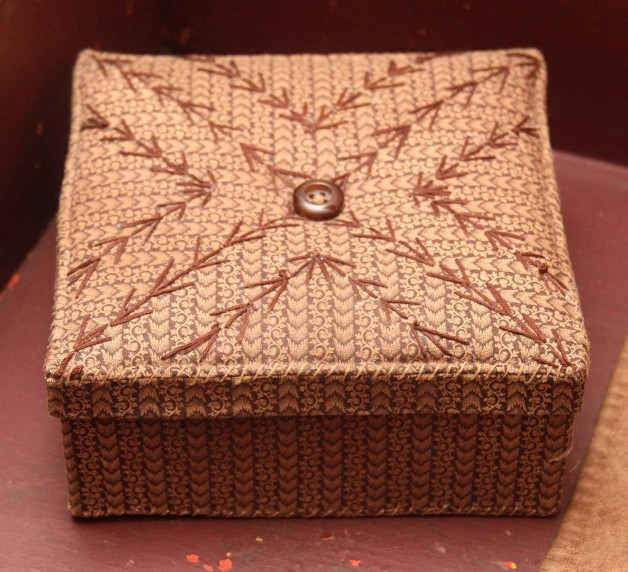 Jeanette McVay brown square fabric box