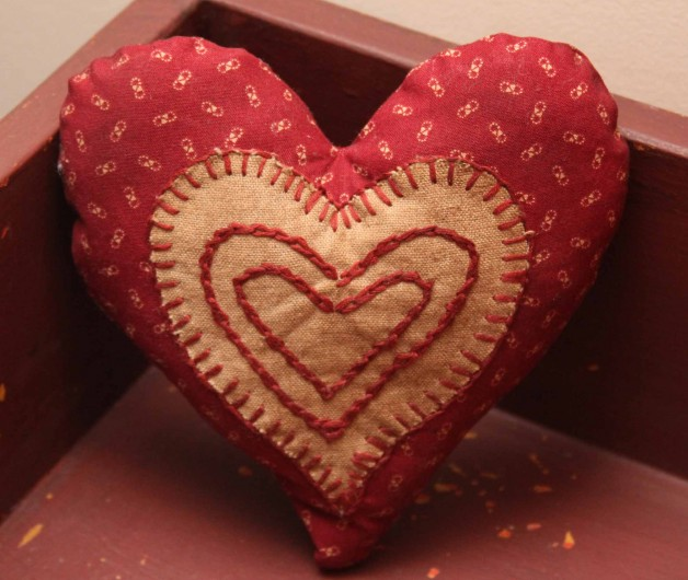 Jeanette McVay red heart shaped pin cushion