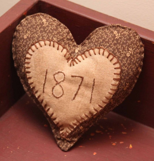 Jeanette McVay brown heart shaped pin cushion