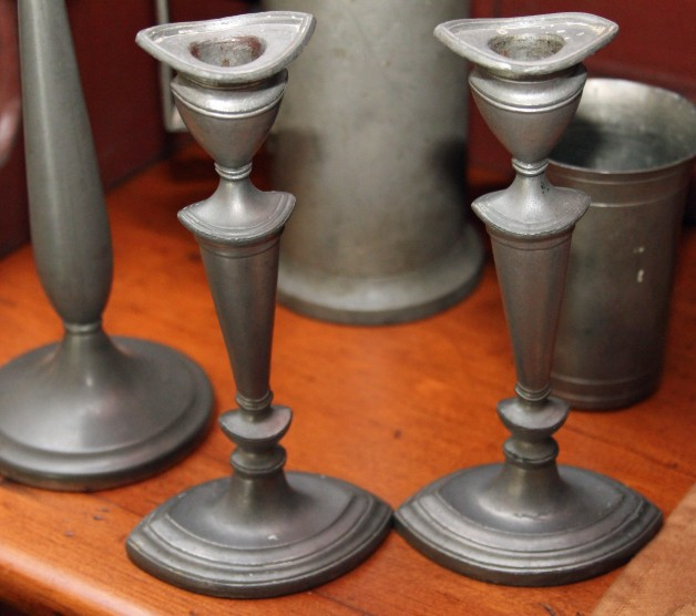 Pewter candlesticks