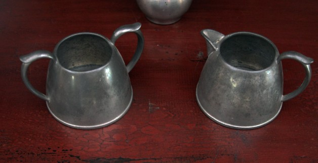 cream & sugar set pewter