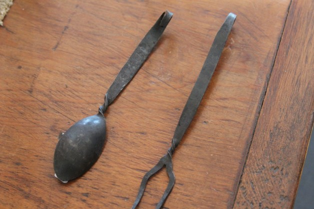 Iron spoon and fork