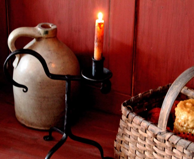 Primitive wrought iron table candle stand