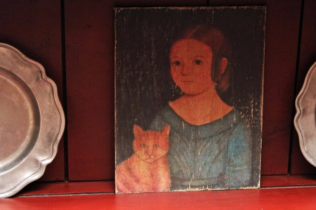 Girl with blue dress and cat