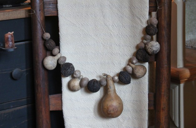 Gourd nutmeg and black walnut garland