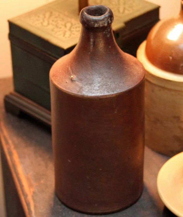 1890 brown glazed stoneware beer bottle