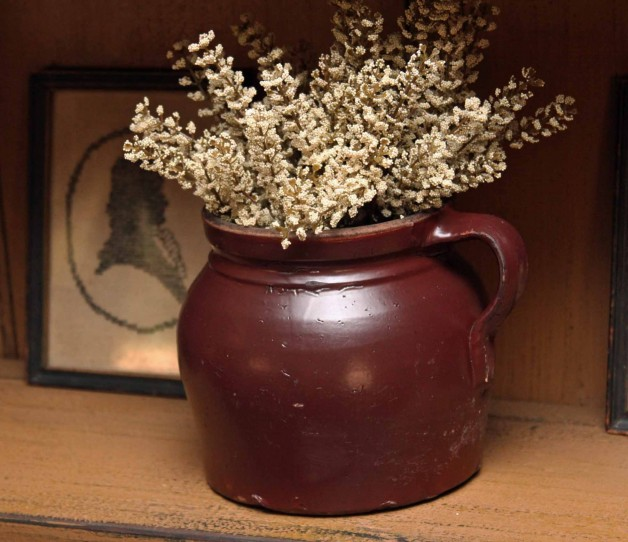 Old bean pot w/faux flowers