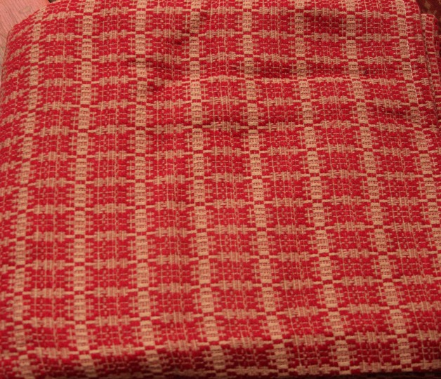 Preacher's Knot coverlet  cranberry/tan