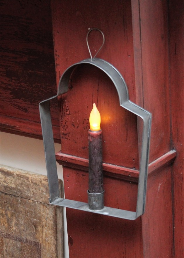 Aged tin curved top candle holder #2