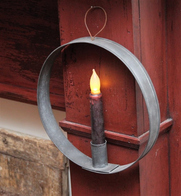 6″ aged tin window candle ring