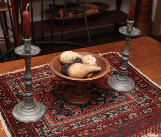 Old Pewter candlesticks with candles