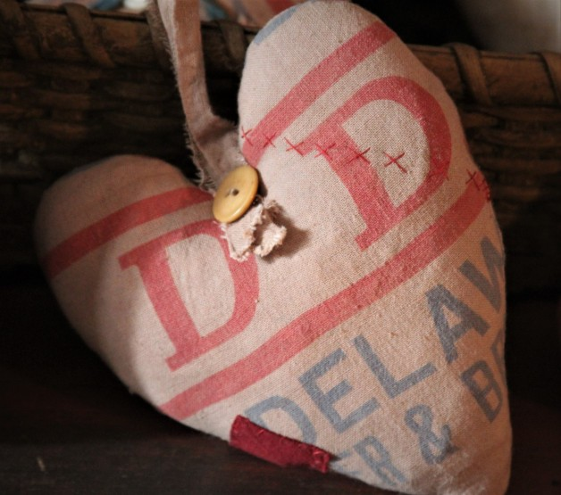 Antique Feed Sack Heart with hanging loop