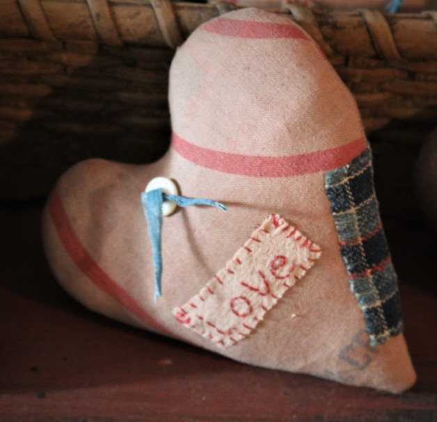 "Antique Feed Sack Heart ""Love"""