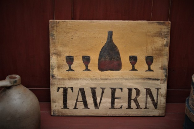 Tavern sign with bottles