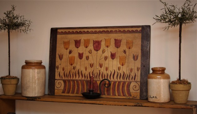 Antique Design tulip fraktur/fireboard on old cutting board