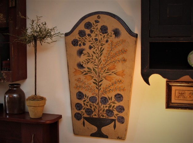 1800's Floral Folk art on extra large tomestone cutting board.