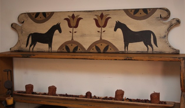 Reproduction Antique headboard with tulip & horse design