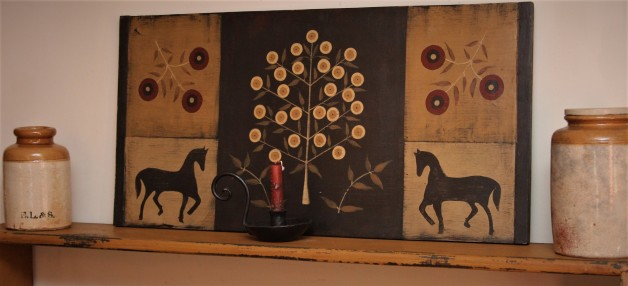 Large board with Penny Tree & horses