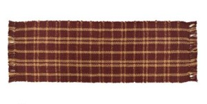Burgundy Jute Plaid Runner-13x36-